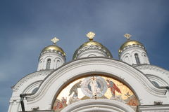 The domes of church of the Transfiguration with patchwork Royalty Free Stock Images