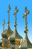 Domes of churches. Pochayiv Lavra - the greatest orthodox monostyr in Ukraine royalty free stock photography