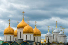 Domes of churches of the Moscow Kremlin Stock Photos