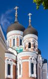 Domes. Of the Alexander Nevsky Orthodox Cathedral in Tallinn Stock Photos