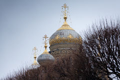 Domes of Dormition Cathedral Stock Photos