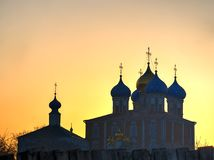 Domes of Dormition Cathedral at Ryazan during stunning sunset background. Horizontal orientation vivid vibrant color rich composition design concept element royalty free stock photos