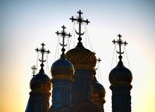 Domes of Dormition Cathedral at Ryazan during stunning sunset background. Horizontal orientation vivid vibrant color rich composition design concept element stock image