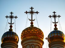 Domes of Dormition Cathedral at Ryazan during stunning sunset background. Horizontal orientation vivid vibrant color rich composition design concept element stock images