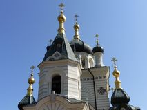 Domes of foros Church. The gilded dome of the Church of the Resurrection in foros (Crimea Royalty Free Stock Image