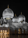Domes of Grand Mosque. Night scene of domes of Grand Mosque in Abu Dhabi Stock Images