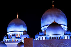 Domes of Grand Mosque. This shot was taken in Abu Dhabi Grand Mosque during the night time Royalty Free Stock Photo