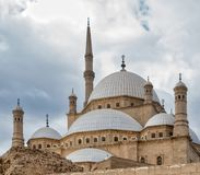 Domes of the great Mosque of Muhammad Ali Pasha Alabaster Mosque, Citadel of Cairo, Egypt Stock Photos