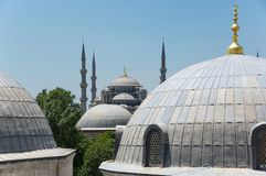 Hagia Sophia and Sultan Ahmet Mosque in Instanbul. Domes of Hagia Sophia and Sultan Ahmet Mosque in Instanbul, Turkey Royalty Free Stock Photography
