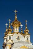Domes of house church of Holy Apostles Peter and Paul, Grand Palace in Peterhof, St. Petersburg, Stock Image