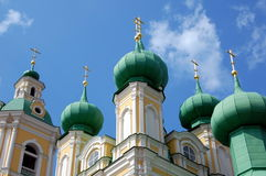 Domes of the Сhurch of the Annunciation. Сhurch of the Annunciation in  St. Petersburg, Russia Royalty Free Stock Photo