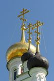 Domes of Iverskaya church in Orel, Russia Royalty Free Stock Image