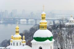 Domes of Kiev Pechersk Lavra in winter Stock Image
