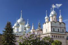 Domes of the Kremlin cathedrals of Rostov the Great on a Sunny spring day. Golden ring,. Russia royalty free stock images