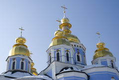 Domes of Michael cathedral in Kiev Stock Photos