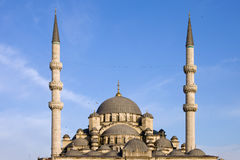 Domes and Minarets of New Mosque in Istanbul Stock Images