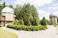 Domes. Of MolÄ—tai astronomical observatory 63 and 165 cm telescopes royalty free stock photos