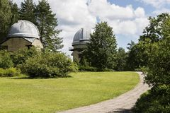 Domes. Of MolÄ—tai astronomical observatory telescopes stock images