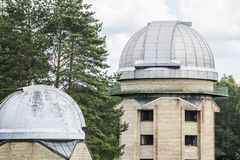 Domes. Of MolÄ—tai astronomical observatory telescopes royalty free stock photos
