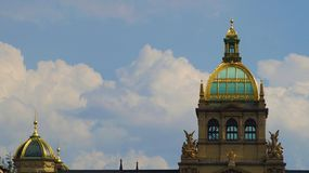 Domes Narodni Museum on the Wenceslas Square in Prague stock photo