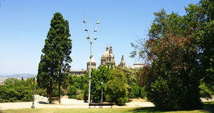 Domes of the National Palace of Catalonia Royalty Free Stock Photo
