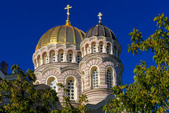 Domes Nativity of Christ Cathedral, Riga, Latvia Stock Image