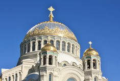 Domes of the Naval Cathedral of St. Nicholas. Orthodox Cathedral. Located in Kronstadt, built in 1913 by architect Vasily Kosyakov Royalty Free Stock Photography