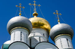 Domes of the Novodevichy Convent, Moscow, Russia. Ensemble of the Novodevichy Convent in Moscow, Russia Royalty Free Stock Image