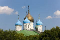 Domes of the Novospassky monastery Stock Photos
