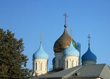 Domes of the Novospassky  Monastery  in Moscow Stock Image
