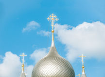 Domes Of Russian Church Against Blue Sky. Royalty Free Stock Photography