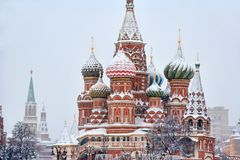 Domes Of St. Basil's Cathedral Under Heavy Snowfall Stock Photos