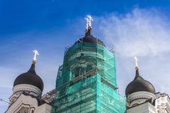 Domes of Orthodox Cathedral. Domes of Orthodox Alexander Nevsky Cathedral in Tallinn, Estonia stock photo