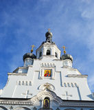 Domes of orthodox cathedral in Kronshtadt Royalty Free Stock Photos