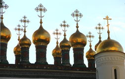 Domes of Orthodox Cathedral in Moscow. The picture shows golden domes of an orthodox cathedral in Moscow, Russia Stock Photography