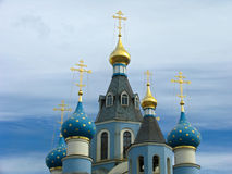 Domes of Orthodox  church. Russia.  Norilsk. Domes of Christian church Stock Image