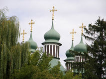 Domes of the Orthodox Church.Kitaevo. Royalty Free Stock Image