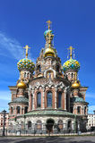 Domes of Orthodox Church of the Savior on blood Stock Photography