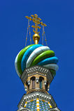 Domes of Orthodox Church of the Savior on blood Stock Image