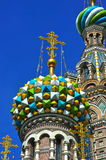 Domes of Orthodox Church of the Savior on blood Royalty Free Stock Photography