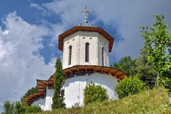 Domes of orthodox church seen through trees Royalty Free Stock Photos