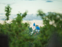 Domes of orthodox church seen through trees Royalty Free Stock Image