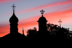 Domes of Orthodox churches. Sunset. Sergiev Posad, Russia Stock Image