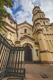 Domes of Our Lady of the Sign Church, the orthodox church betwee royalty free stock photos