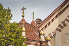 Domes of Our Lady of the Sign Church, the orthodox church betwee royalty free stock images
