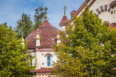 Domes of Our Lady of the Sign Church, the orthodox church betwee Stock Image