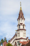 Domes of Our Lady of the Sign Church, the orthodox church betwee royalty free stock image