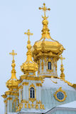 Domes of the Peter and Paul Church of the Great Palace of Peterhof. Saint-Petersburg Royalty Free Stock Photo
