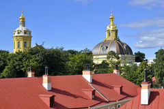 Domes in Peter and Paul Fortress, Saint-Petersburg Stock Photo