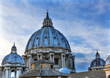 Domes Roof Saint Peter`s Basilica Vatican Rome Italy. Michaelangelo built dome in the 1600s Stock Image